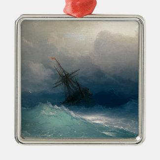 Ornement Carré Argenté Bateau sur les mers orageuses, Ivan Aivazovsky