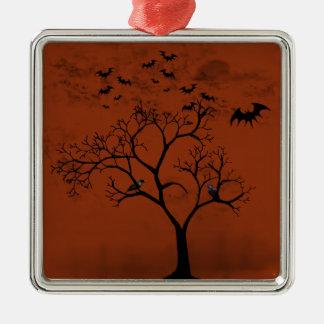 Ornement Carré Argenté Battes et corneilles de Halloween dans l'arbre