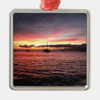 Ornement Carré Argenté Beau coucher du soleil de vacances de Maui Hawaï