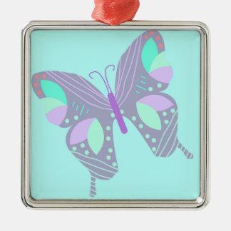 Ornement Carré Argenté Beau papillon de couleurs bleues et en pastel