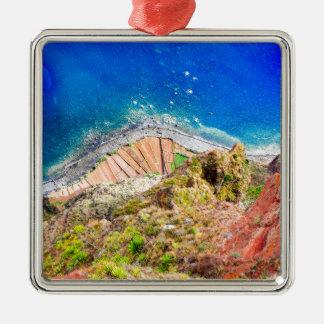 Ornement Carré Argenté Beau paysage côtier coloré avec la mer bleue
