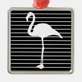 Ornement Carré Argenté Black and White Striped le Flamingo