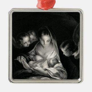 Ornement Carré Argenté Blanc de noir d'anges de Vierge Marie de Jésus de