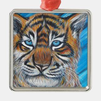 Ornement Carré Argenté Bleu de tigre