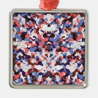 Ornement Carré Argenté Bleu et motif rouge de camouflage