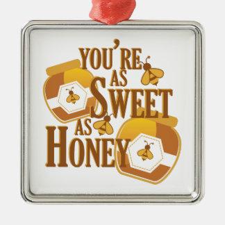 Ornement Carré Argenté Bonbon comme miel