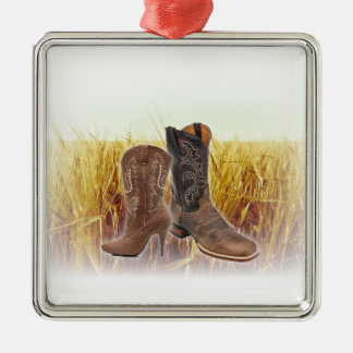 Ornement Carré Argenté Bottes de cowboy de pays occidental de champ de