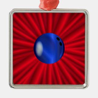 Ornement Carré Argenté Boule de bowling au-dessus du rouge