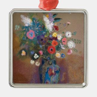 Ornement Carré Argenté Bouquet des fleurs - Odilon Redon