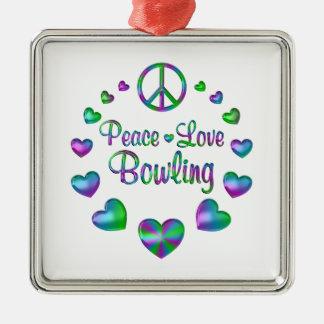 Ornement Carré Argenté Bowling d'amour de paix