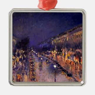Ornement Carré Argenté Camille Pissarro le boulevard Montmartre la nuit