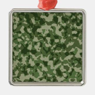 Ornement Carré Argenté Camouflage militaire de vert de jungle