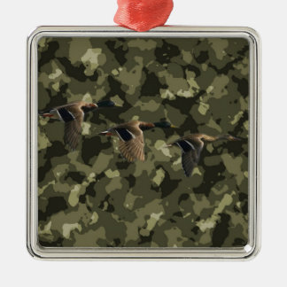 Ornement Carré Argenté Canard militaire extérieur de canard de camouflage