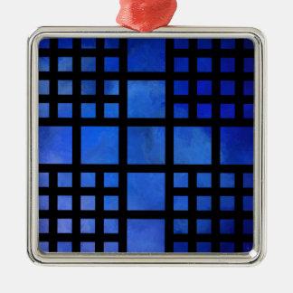 Ornement Carré Argenté Cappanella V1 - carrés bleus