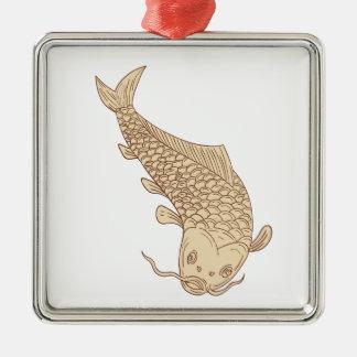 Ornement Carré Argenté Carpe de Koi Nishikigoi plongeant en bas du dessin