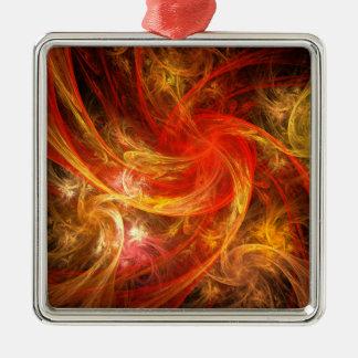 Ornement Carré Argenté Carré d'art abstrait de nova de tempête de feu