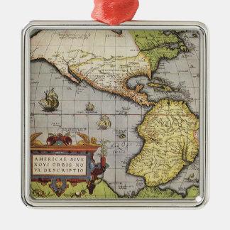 Ornement Carré Argenté Carte antique du monde des Amériques, 1570