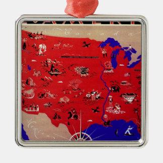 Ornement Carré Argenté Carte antique vintage Etats-Unis d'Amérique,
