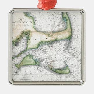 Ornement Carré Argenté Carte Cape Cod, Nantucket, Martha's Vineyard