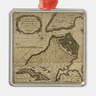Ornement Carré Argenté Carte de La Havane, Cuba (1762)