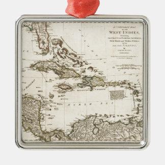 Ornement Carré Argenté Carte des Antilles par Samuel Dunn (1774)