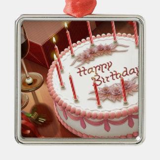 Ornement Carré Argenté Célébration de cent ans avec le gâteau et le vin
