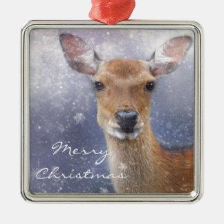 Ornement Carré Argenté Cerfs communs d'hiver de Joyeux Noël