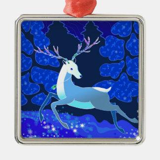 Ornement Carré Argenté Cerfs communs mignons magiques de Noël avec la