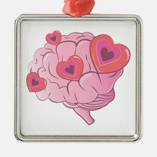 Ornement Carré Argenté Cerveau d'amour