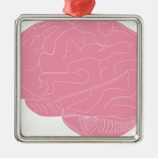 Ornement Carré Argenté Cerveau rose
