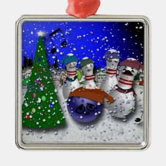 Ornement Carré Argenté Chant de Noël de bowling