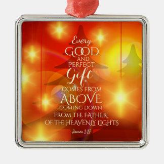 Ornement Carré Argenté Chaque cadeau parfait vient d'en haut, Noël
