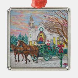 Ornement Carré Argenté Chariot de Noël de tour de Sleigh
