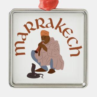 Ornement Carré Argenté Charmeur de serpent de Marrakech