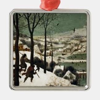 Ornement Carré Argenté Chasseurs dans la peinture d'hiver