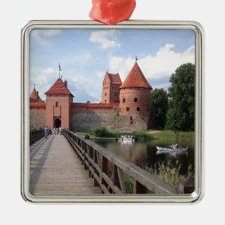 Ornement Carré Argenté Château d'île de Trakai - Lithuanie ---