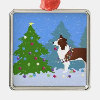 Ornement Carré Argenté Chien de border collie décorant l'arbre de Noël