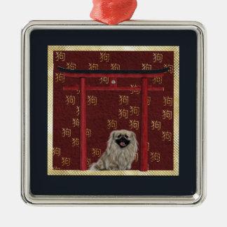 Ornement Carré Argenté Chien de Pekingese, voûte asiatique rouge, signe