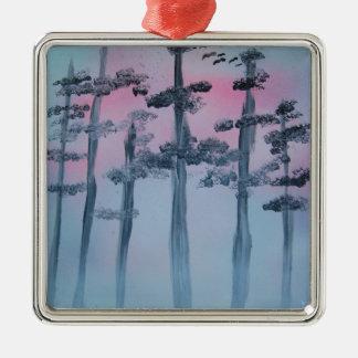 Ornement Carré Argenté Ciel et arbres d'art de peinture de jet