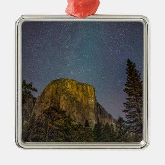Ornement Carré Argenté Ciel nocturne d'EL Capitan de vallée de Yosemite