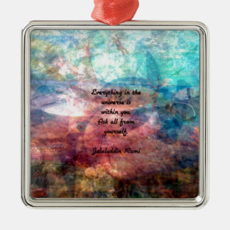 Ornement Carré Argenté Citation élevante de Rumi au sujet d'énergie et