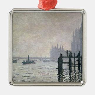 Ornement Carré Argenté Claude Monet   la Tamise au-dessous de Westminster