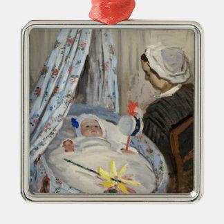 Ornement Carré Argenté Claude Monet   le berceau, Camille avec le fils