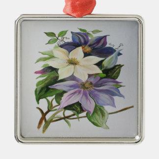 Ornement Carré Argenté Clématite lilas