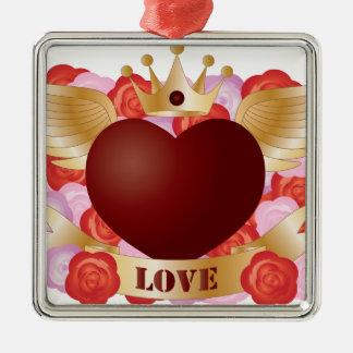 Ornement Carré Argenté Coeur de vol avec la bannière et les roses