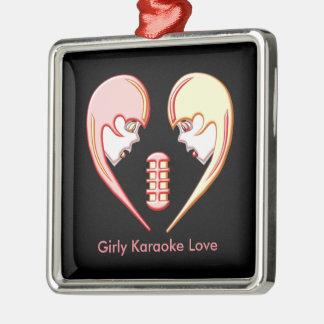 Ornement Carré Argenté Coeur Girly d'amour de karaoke