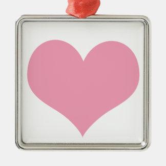 Ornement Carré Argenté Coeur rose d'amour