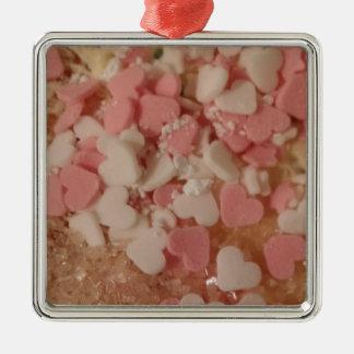 Ornement Carré Argenté Coeurs blancs roses de Valentine, décoration de