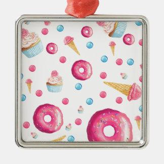 Ornement Carré Argenté Collage rose de beignet