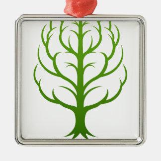 Ornement Carré Argenté Concept de cerveau d'arbre